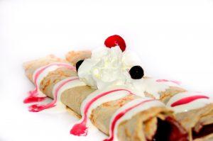 Pancakes with Honey & Raspberry sauce